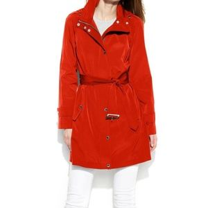 London Fog Classic Red Belted Rain Jacket